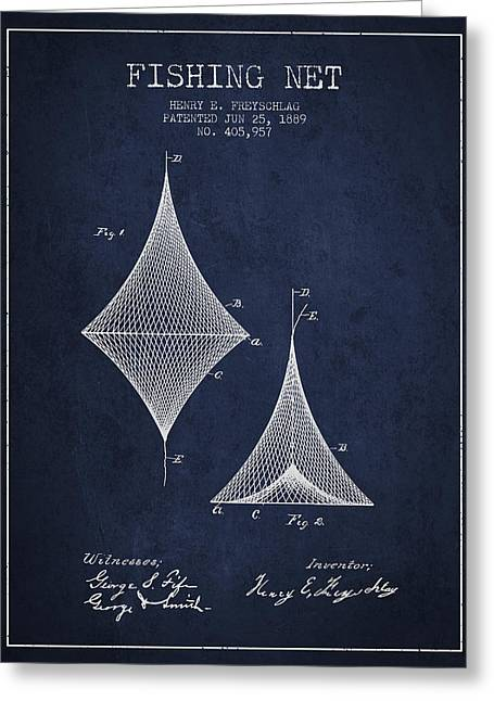 Fishing Rods Greeting Cards - Fishing Net Patent from 1889- Navy Blue Greeting Card by Aged Pixel