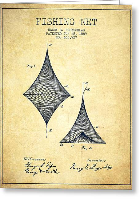 Fishing Net Greeting Cards - Fishing Net Patent from 1889- Vintage Greeting Card by Aged Pixel