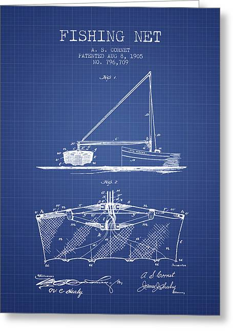 Fishing Rods Greeting Cards - Fishing Net Patent from 1905- Blueprint Greeting Card by Aged Pixel