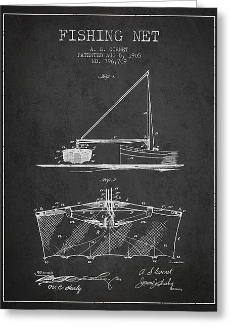 Fishing Rods Greeting Cards - Fishing Net Patent from 1905- Charcoal Greeting Card by Aged Pixel
