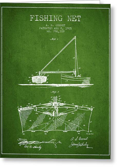 Fishing Rods Greeting Cards - Fishing Net Patent from 1905- Green Greeting Card by Aged Pixel