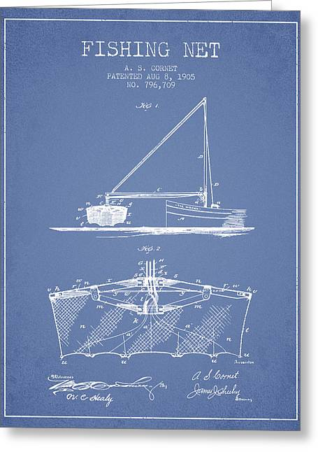 Fishing Net Greeting Cards - Fishing Net Patent from 1905- Light Blue Greeting Card by Aged Pixel