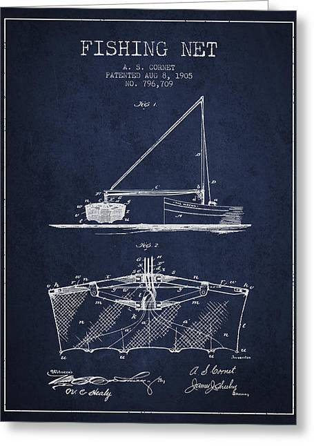 Fishing Rods Greeting Cards - Fishing Net Patent from 1905- Navy Blue Greeting Card by Aged Pixel