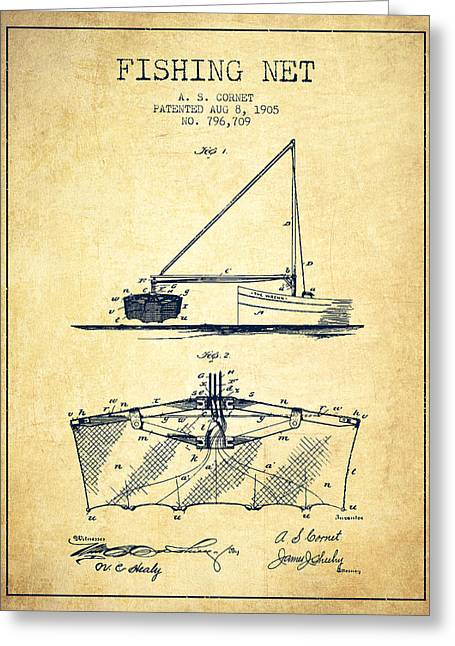 Fishing Rods Greeting Cards - Fishing Net Patent from 1905- Vintage Greeting Card by Aged Pixel