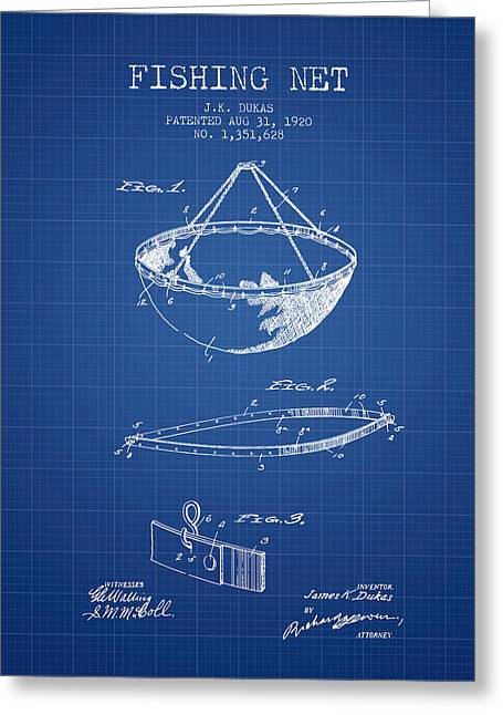 Fishing Rods Greeting Cards - Fishing Net Patent from 1920- Blueprint Greeting Card by Aged Pixel