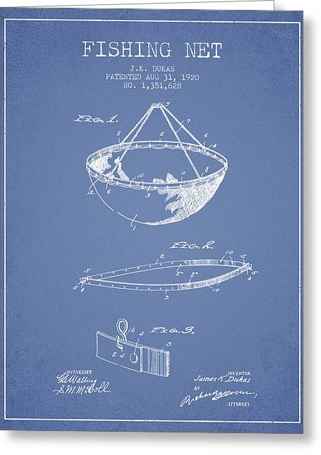 Tackle Greeting Cards - Fishing Net Patent from 1920- light blue Greeting Card by Aged Pixel