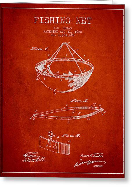 Tackle Greeting Cards - Fishing Net Patent from 1920- Red Greeting Card by Aged Pixel