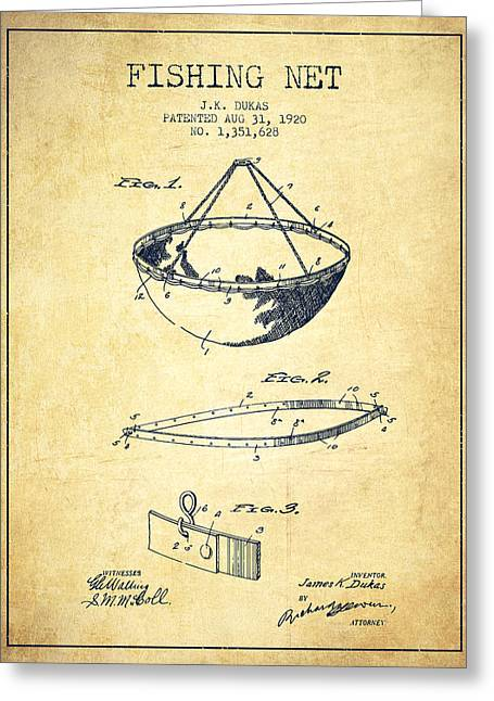 Gone Fishing Greeting Cards - Fishing Net Patent from 1920- Vintage Greeting Card by Aged Pixel