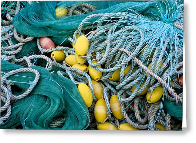 Textile Photographs Photographs Greeting Cards - Fishing Nets Greeting Card by Frank Tschakert
