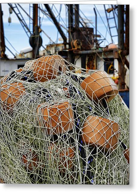 New England Village Greeting Cards - Fishing Nets Greeting Card by John Greim