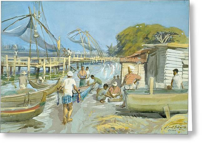 Arabian Sea Greeting Cards - Fishing Nets Near Cochin, 1994 Wc Greeting Card by Tim Scott Bolton