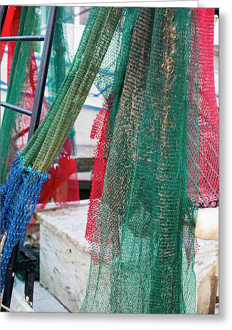 Fishing Nets On A Shrimp Boat Greeting Card by Jim West