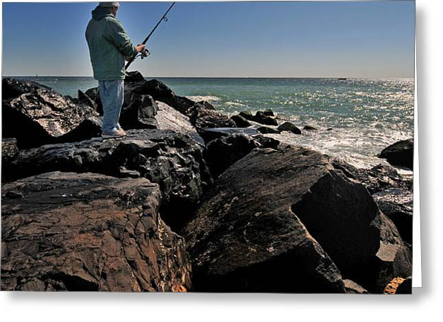 Fishing off the Jetty Greeting Card by Paul Ward