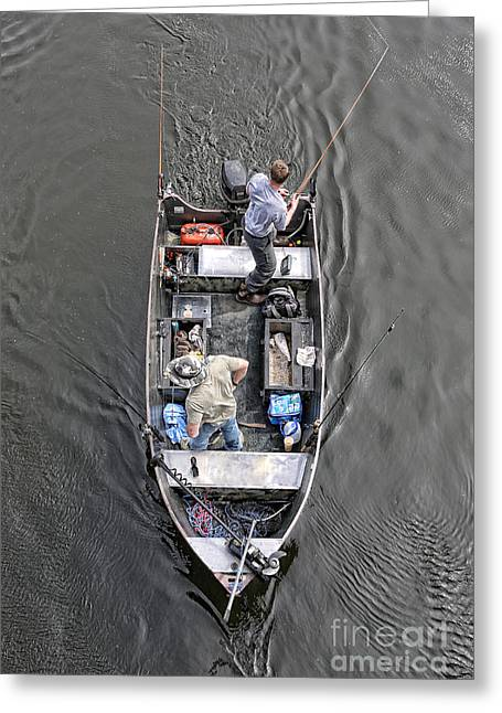 Netting Greeting Cards - Fishing on a Boat Greeting Card by Lee Dos Santos