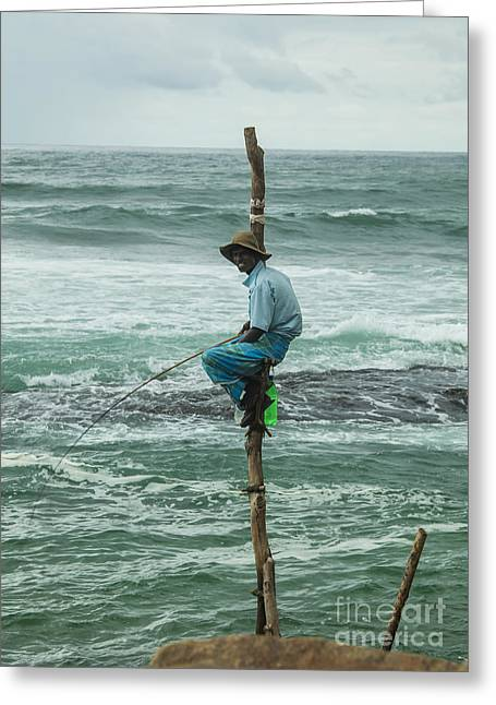 Ceylon Greeting Cards - Fishing on a pole Greeting Card by Patricia Hofmeester