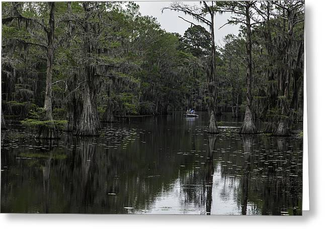 Caddo Lake Greeting Cards - Fishing on Caddo Greeting Card by John Hesley