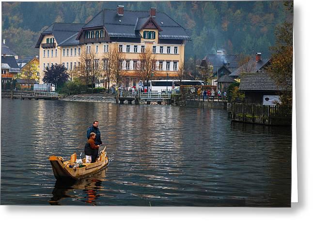 Hallstatt Greeting Cards - Fishing On Lake Hallstatt Greeting Card by David Waldo