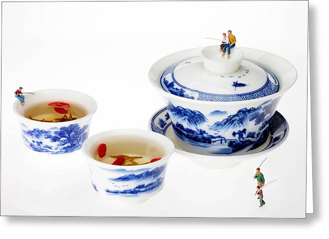 Asian Workers Greeting Cards - Fishing on tea cups little people on food series Greeting Card by Paul Ge