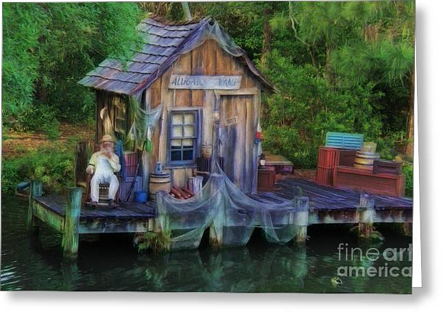 Netting Greeting Cards - Fishing on the Bayou Greeting Card by Lee Dos Santos