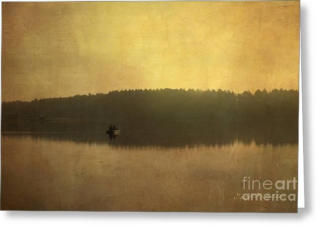 Warm Tones Digital Art Greeting Cards - Fishing On the Lake Greeting Card by David Gordon