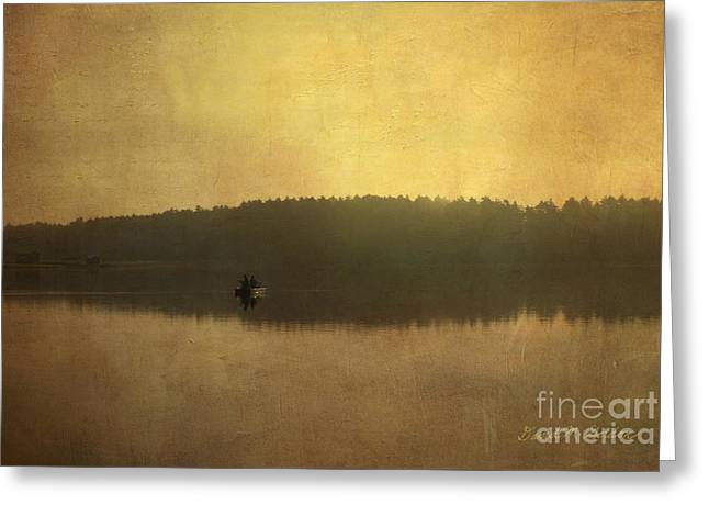 Warm Tones Greeting Cards - Fishing On the Lake Greeting Card by Dave Gordon