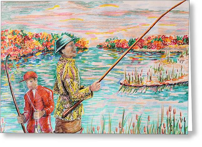 North Shore Drawings Greeting Cards - Fishing on the Sound Greeting Card by Robert Yaeger
