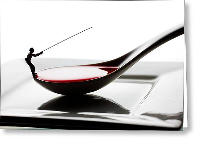 Creative People Greeting Cards - Fishing on the spoon and the plate little people on food Greeting Card by Paul Ge