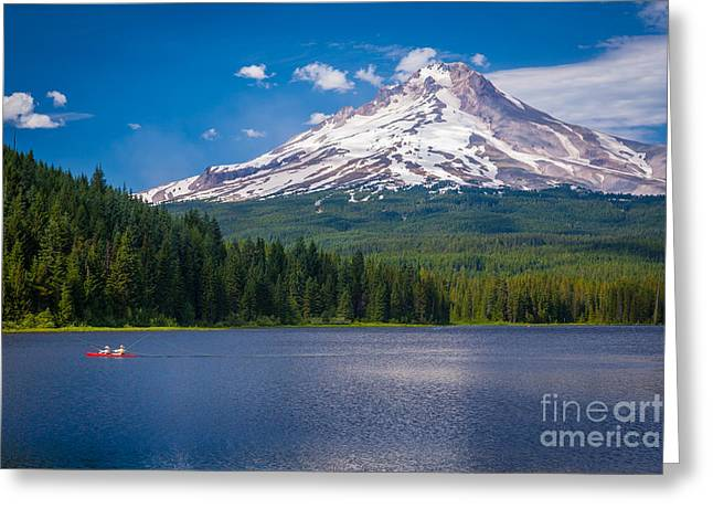 Green Canoe Greeting Cards - Fishing on Trillium Lake Greeting Card by Inge Johnsson