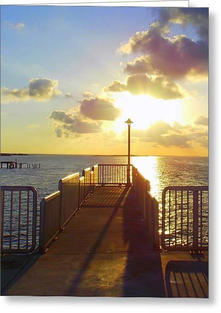 Cedar Key Greeting Cards - Fishing Pier 2 Greeting Card by Sheri McLeroy