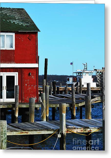 Clean Water Mixed Media Greeting Cards - Fishing Pier Greeting Card by Adspice Studios