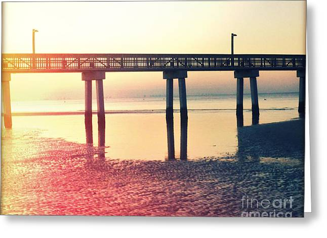 Florida Bridge Greeting Cards - Fishing Pier at Dawn Photography Light Leaks Greeting Card by Chris Andruskiewicz