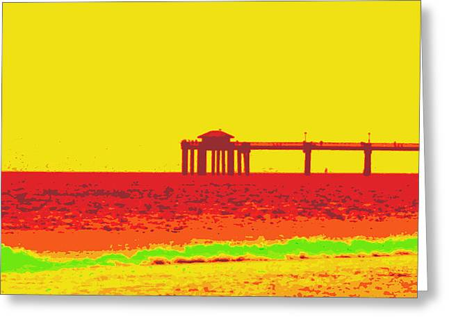Florida Panhandle Digital Greeting Cards - Fishing Pier in Red Greeting Card by Laurie Pike
