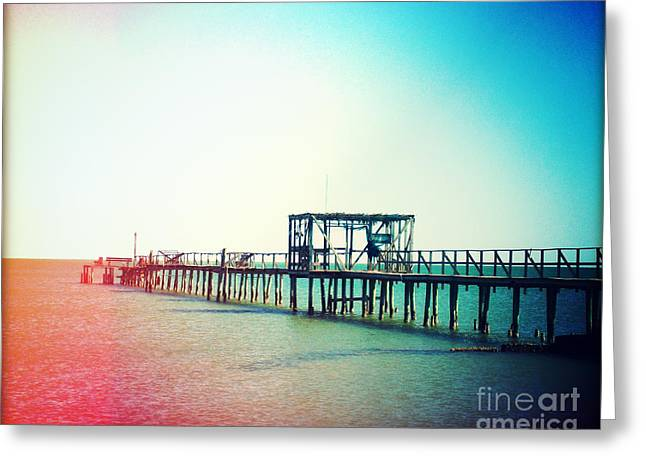 Florida Bridge Greeting Cards - Fishing Pier Photography Light Leaks Greeting Card by Chris Andruskiewicz