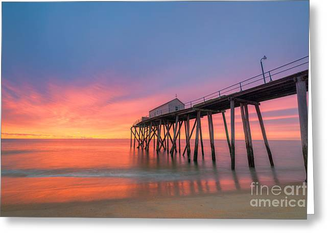 Fire In The Wood Greeting Cards - Fishing Pier Sunrise Greeting Card by Michael Ver Sprill