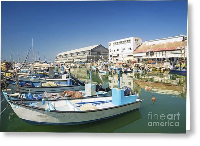Yafo Greeting Cards - Fishing Port In Jaffa Tel Aviv Israel Greeting Card by Jacek Malipan