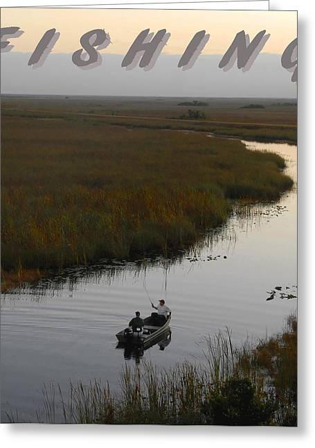 Two Fishing Men Greeting Cards - Fishing poster one Greeting Card by David Lee Thompson