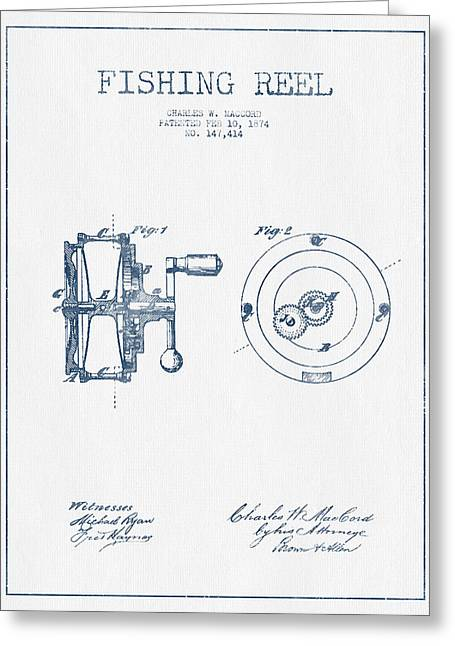 Reeling Digital Art Greeting Cards - Fishing Reel Patent from 1874 - Blue Ink Greeting Card by Aged Pixel