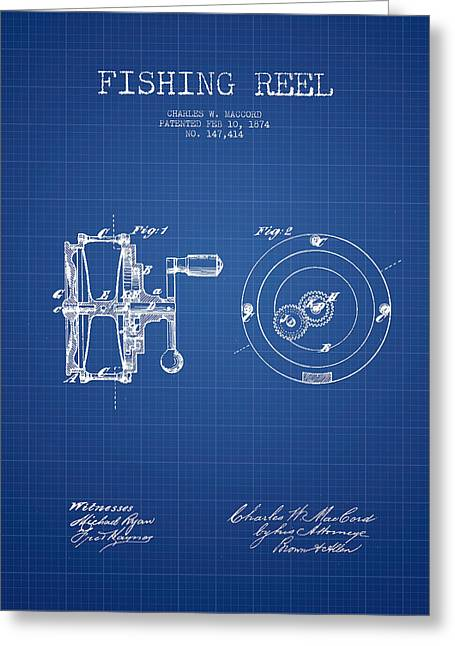 Tackle Greeting Cards - Fishing Reel Patent from 1874 - Blueprint Greeting Card by Aged Pixel