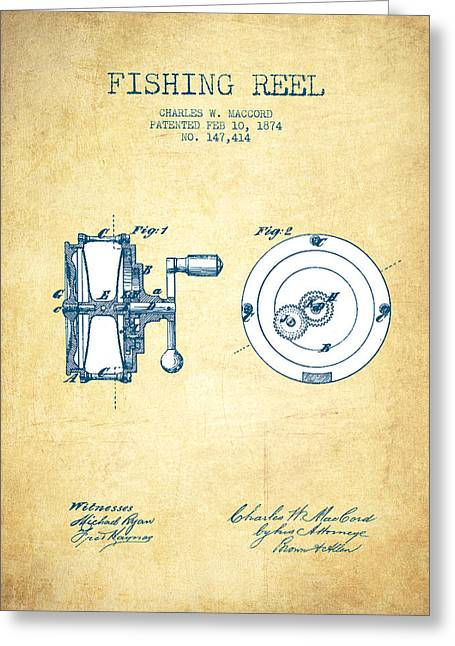 Tackle Greeting Cards - Fishing Reel Patent from 1874 - Vintage Paper Greeting Card by Aged Pixel