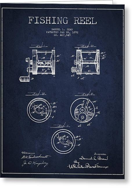 Reeling Digital Art Greeting Cards - Fishing Reel Patent from 1892 Greeting Card by Aged Pixel