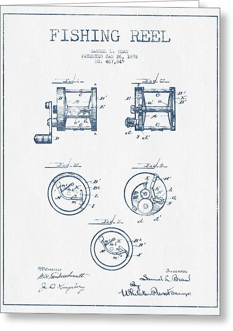 Fly Fishing Digital Art Greeting Cards - Fishing Reel Patent from 1892 - Blue Ink Greeting Card by Aged Pixel
