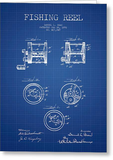 Tackle Greeting Cards - Fishing Reel Patent from 1892 - Blueprint Greeting Card by Aged Pixel