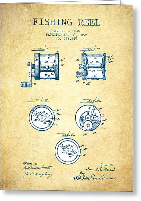 Fishing Greeting Cards - Fishing Reel Patent from 1892 - Vintage Paper Greeting Card by Aged Pixel