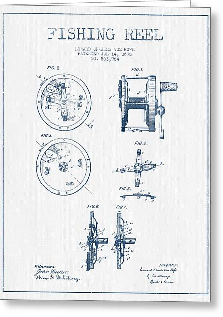 Reeling Digital Art Greeting Cards - Fishing Reel Patent from 1896 - Blue Ink Greeting Card by Aged Pixel