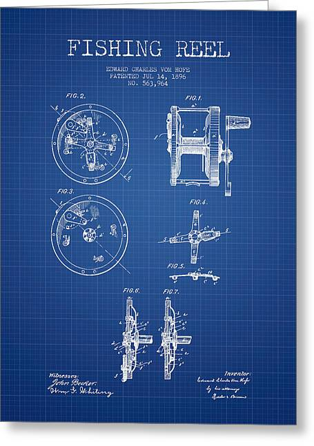 Tackle Greeting Cards - Fishing Reel Patent from 1896 - Blueprint Greeting Card by Aged Pixel