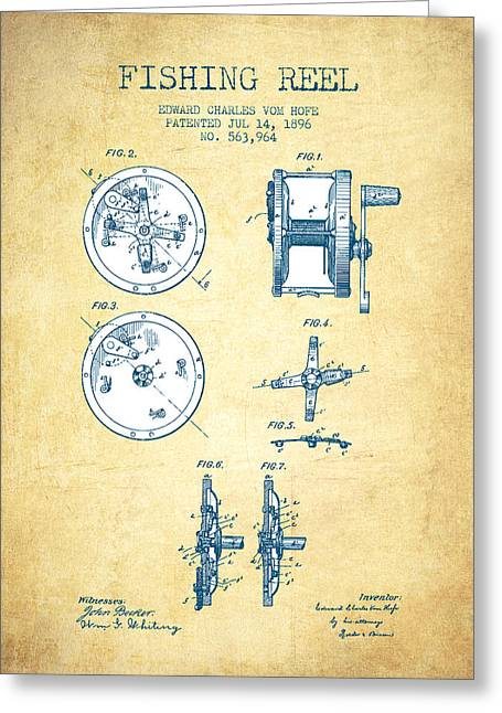 Gone Fishing Greeting Cards - Fishing Reel Patent from 1896 - Vintage Paper Greeting Card by Aged Pixel