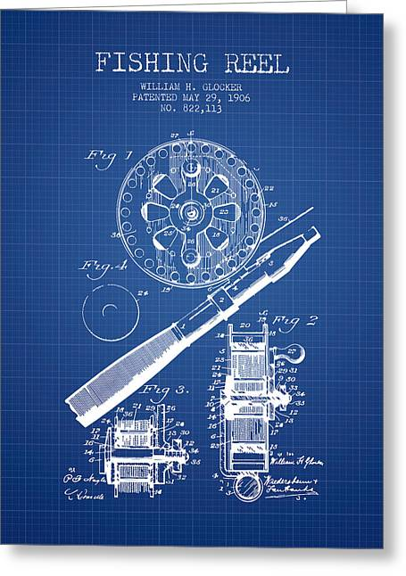 Fishing Greeting Cards - Fishing Reel Patent from 1906 - Blueprint Greeting Card by Aged Pixel