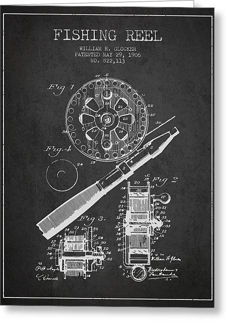 Fishing Rods Greeting Cards - Fishing Reel Patent from 1906 - Charcoal Greeting Card by Aged Pixel