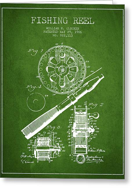 Fishing Rods Greeting Cards - Fishing Reel Patent from 1906 - Green Greeting Card by Aged Pixel