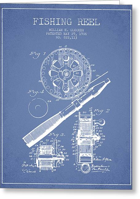 Fishing Rods Greeting Cards - Fishing Reel Patent from 1906 - Light Blue Greeting Card by Aged Pixel